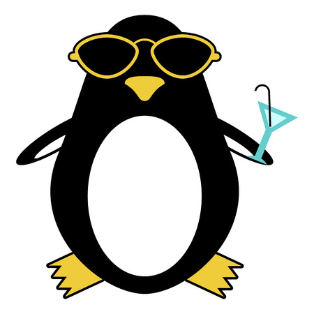 cartoon penguin: Funny penguin in sunglasses with cocktail
