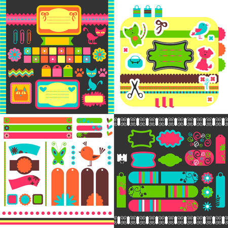 Collection of many cute scrapbook elements Vector