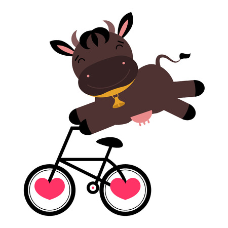 Funny cow on a bicycle Vector
