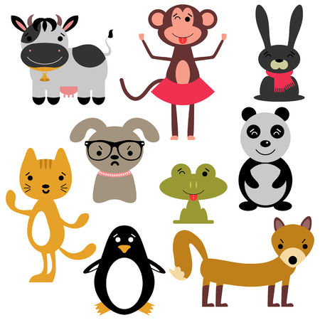 Set of random cute animals Vector