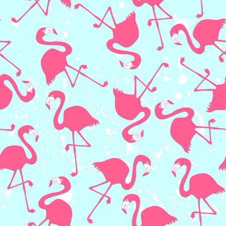 Seamless pattern with pink flamingos Illustration