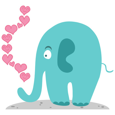 Cute elephant in love romantic illustration