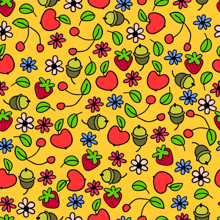 Seamless pattern with nature elements Vector