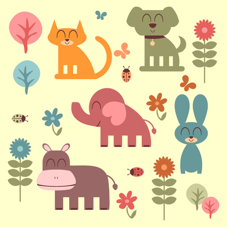 Set of cute funny animals Illustration