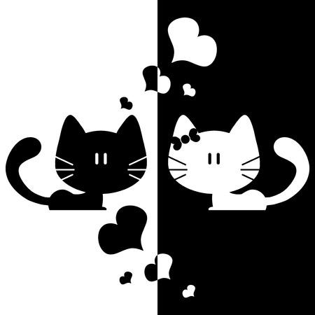 Cute couple of kittens romantic illustrations