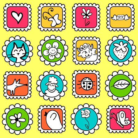 Cute colorful stamps with various drawings Vector