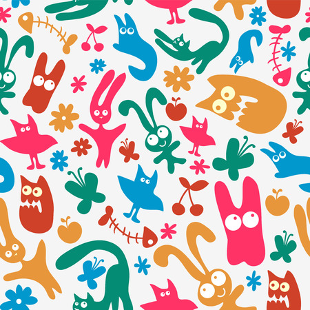 babyish: Seamless pattern with cute monster animals Illustration