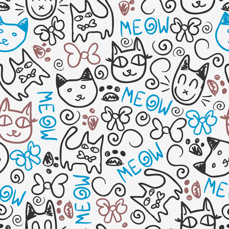 cat paw: Cute seamless pattern with kitty doodles