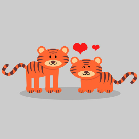 Couple of cute tigers in love