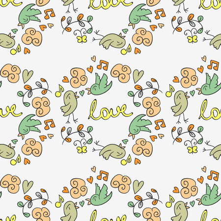 Cute romantic hand drawn seamless pattern Vector