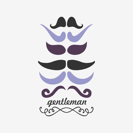 gentleman's: Gentleman s decorative card with mustache Illustration