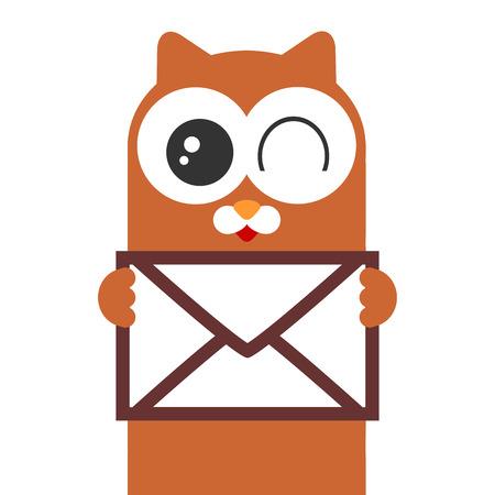 Cute cartoon kitty holding a letter