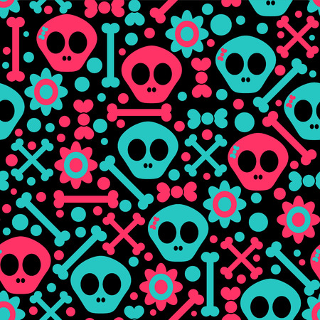 Seamless pattern with funny skulls Vector
