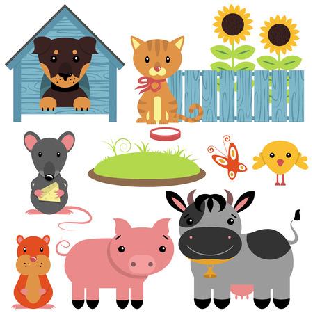 Set of cute domestic animals Vector