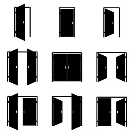 Conjunto de diversos iconos de las puertas Ilustración de vector