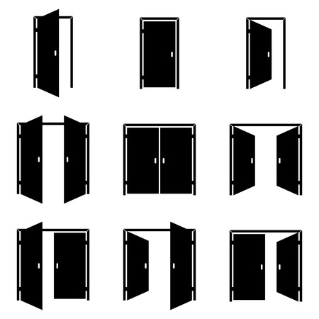 Set of different door icons Vector