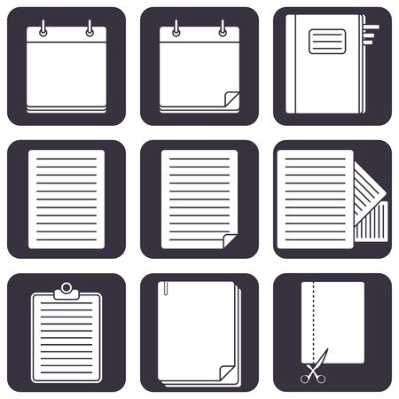 Set of  office icons with documents Stock Vector - 26350951