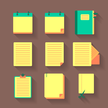 Set of colorful office icons with documents Stock Vector - 26350952