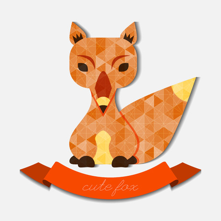 babyish: Cute fox illustration filled with geometric pattern