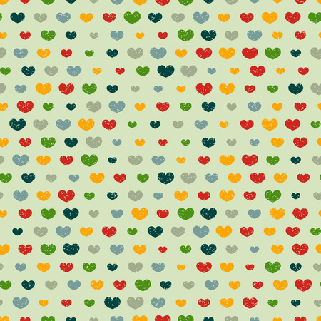 babyish: Retro seamless pattern with colorful hearts Illustration