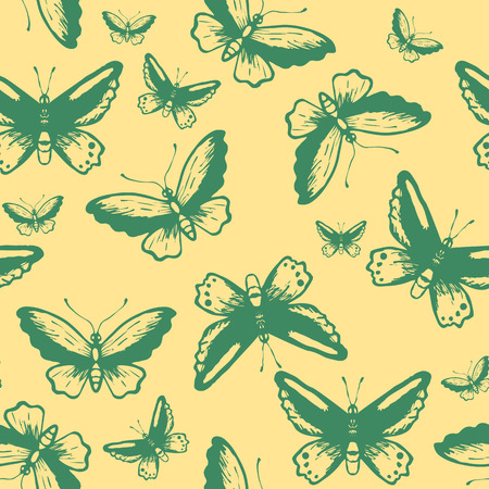 babyish: Seamless pattern with tropical butterflies silhouettes Illustration