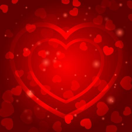 Romantic plantilla de fondo con corazones rojos