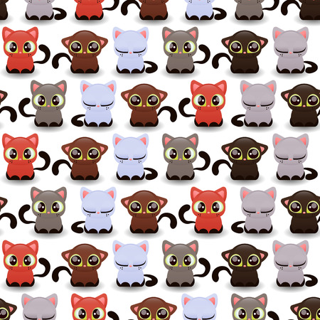 Seamless pattern with cute little kittens of various color Vector