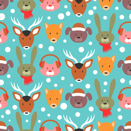 Winter seamless pattern with adorable animal faces Vector