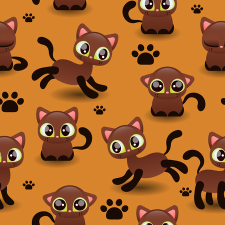 Seamless pattern with cute little kittens Vector