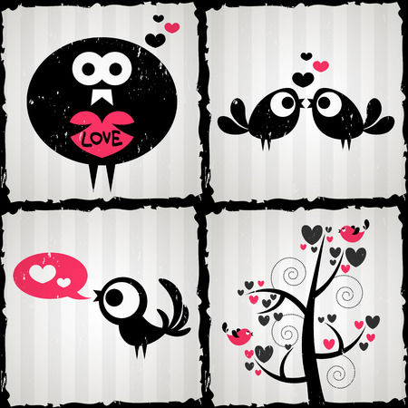 Set of four romantic illustrations with cute birds Vector