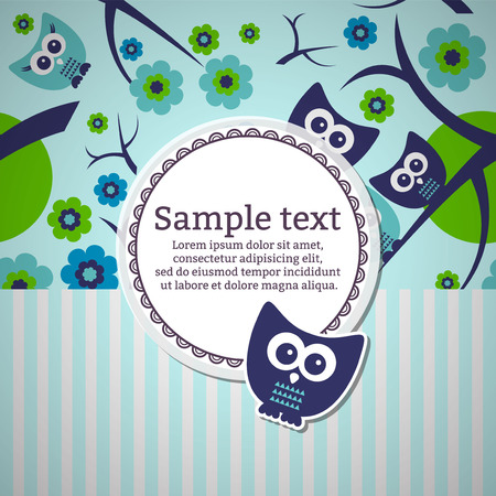 Card with cute funny owls Vector