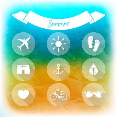 Summer holidays, set of flat icons  Blurred summer background  Elements for web and mobile interface Vector