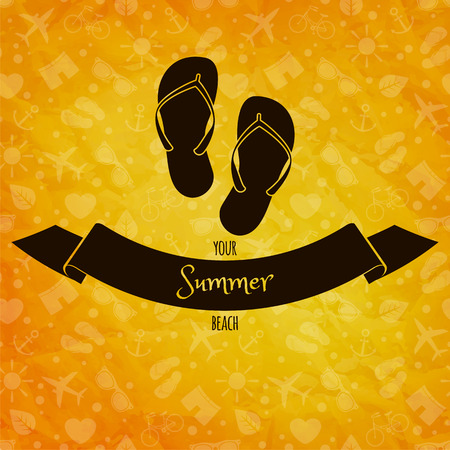 Summer holidays concept  Flip flops on sunny vector background  Retro label  Greeting card Vector