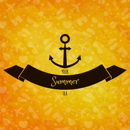 Summer holidays concept  Anchor on sunny vector background  Retro label  Greeting card Vector