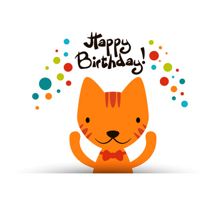 Birthday card with cute funny cat Vector