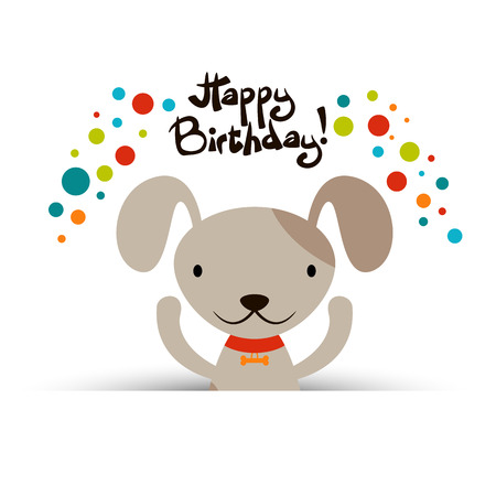 Birthday card with cute funny dog Vector