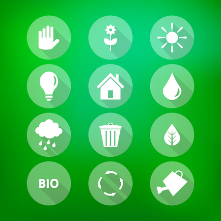 Set of flat eco icons on blurry green background  Ecology concept Vector