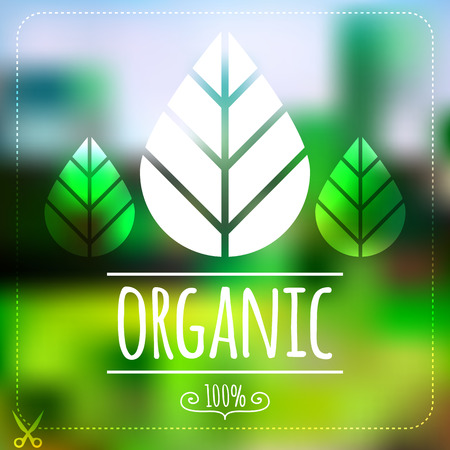 Ecology label on blurred green landscape  Organic product Vector