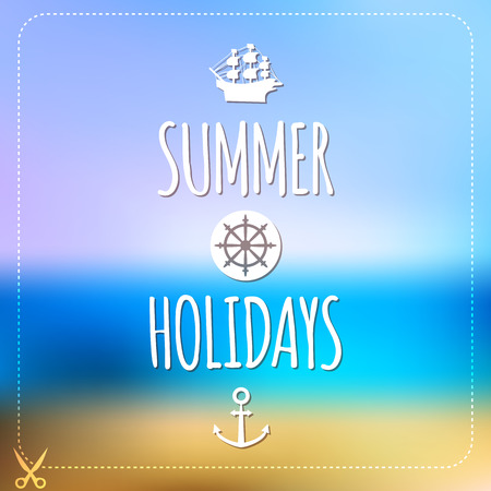 Summer holidays card  Blurry vector landscape  Beach, sea, tourism Vector