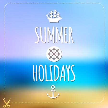 Summer holidays card  Blurry vector landscape  Beach, sea, tourism Vector