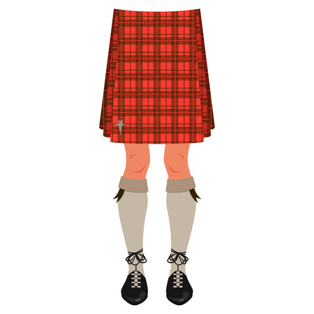 Male legs in kilt isolated on white, scottish national costume Vector