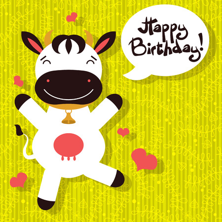 Birthday card with cute happy cow Vector