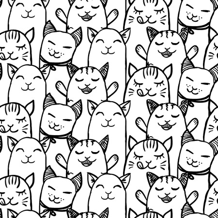 Seamless pattern with cute hand drawn kittens Vector