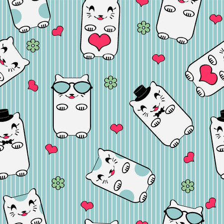 Cute seamless pattern with kittens Vector