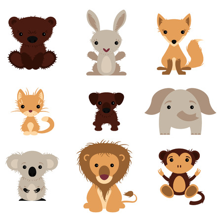 Set of various lovely animals, wild and pet Vector