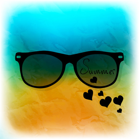 Sunglasses on blurry background with beach Vector