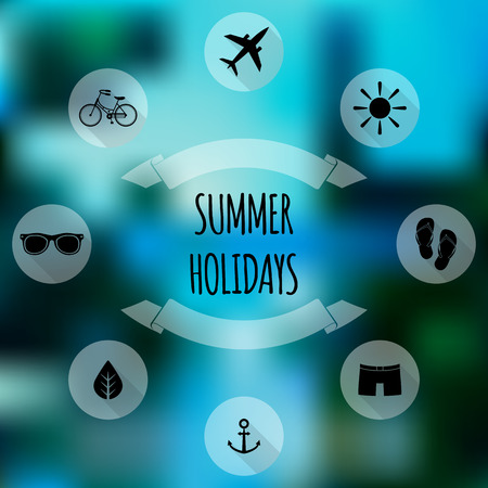 Summer holidays flat icons on blurred background Vector