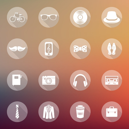 Set of flat hipster icons on abstract blurry background Vector