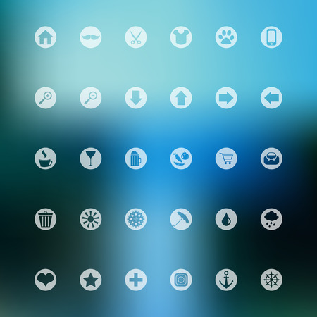 Set of various simple map interface icons on blurred background Vector