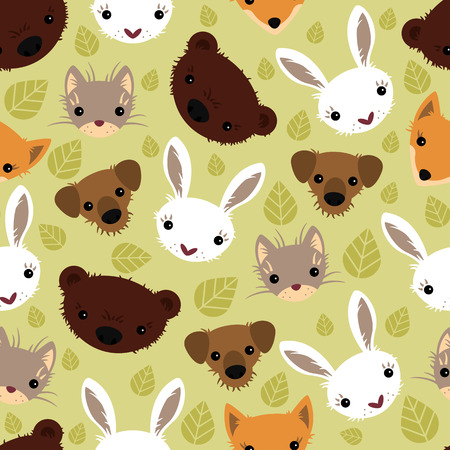 Seamless pattern with adorable animals Vector